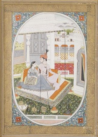 A PAINTING OF A MAHARAJA AND HIS WIFE ENTHRONED ON A PALACE TERRACE NORTH INDIA, PUNJAB HILLS, KANGRA, CIRCA 1785