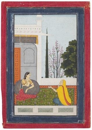 AN ILLUSTRATION FROM A RASIKAPRIYA SERIES: RADHA SEATED WITH HER DUENNA INDIA, PUNJAB HILLS, GARHWAL OR NURPUR, CIRCA 1780