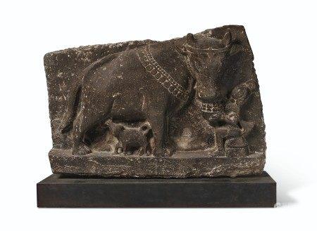 A BLACK STONE RELIEF OF NANDI EASTERN INDIA, PROBABLY ORISSA, 10TH-11TH CENTURY