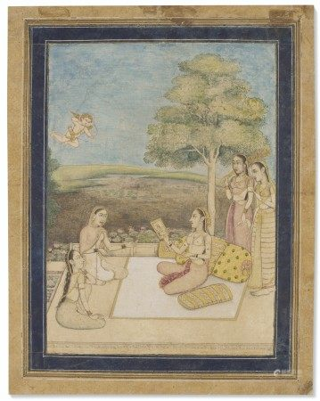 A PAINTING OF A LADY WITH A PORTRAIT OF HER BELOVED INDIA, MUGHAL, CIRCA 1750-1800