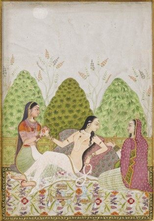 A PAINTING OF A LADY ON A TERRACE WITH ATTENDANTS INDIA, MUGHAL STYLE, CIRCA 1740