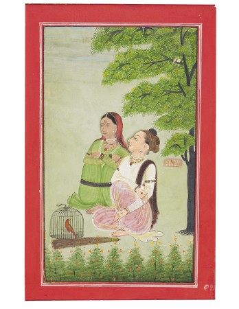 A PAINTING OF A PRINCESS DISGUISED AS A PRINCE WITH HER ATTENDANT INDIA, MUGHAL, CIRCA 1760