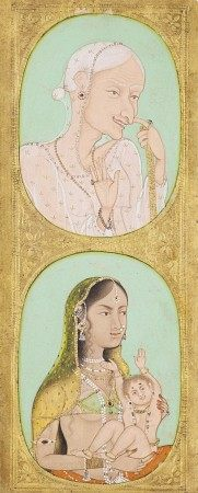 A DOUBLE PORTRAIT OF A DUENNA AND A MOTHER AND CHILD INDIA, PROVINCIAL MUGHAL, CIRCA 1750-1800