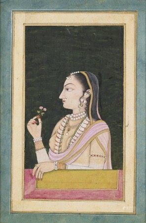 A PORTRAIT OF A LADY HOLDING A FLOWER  INDIA, RAJASTHAN, CIRCA 1780