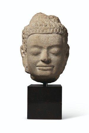 A BUFF SANDSTONE HEAD OF BUDDHA THAILAND, LOPBURI PERIOD, 12TH-13TH CENTURY