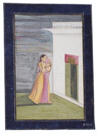 A PAINTING OF A PRINCESS VISITING A SHRINE AT NIGHT INDIA, PROVINCIAL MUGHAL, CIRCA 1780