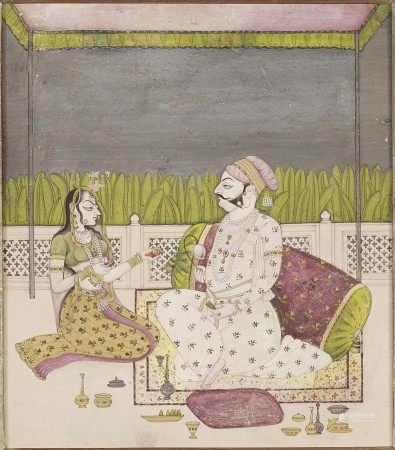 A PAINTING OF A PRINCE AND A LADY SEATED ON A TERRACE INDIA, RAJASTHAN, KISHANGARH, CIRCA 1760