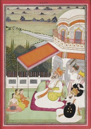 A PAINTING OF MAHARAJA SHRI GAJ SINGH ON A TERRACE LISTENING TO LADY MUSICIANS INDIA, RAJASTHAN, JODHPUR OR BIKANER, 1797