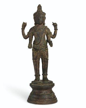 A BRONZE FIGURE OF VISHNU KHMER, 10TH-11TH CENTURY