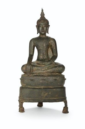 A BRONZE FIGURE OF BUDDHA SHAKYAMUNI THAILAND, 14TH-15TH CENTURY