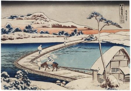 KATSUSHIKA HOKUSAI (1760-1849) The Pontoon Bridge at Sano in Kozuke Province (Kozuke Sano funabashi no kozu)
