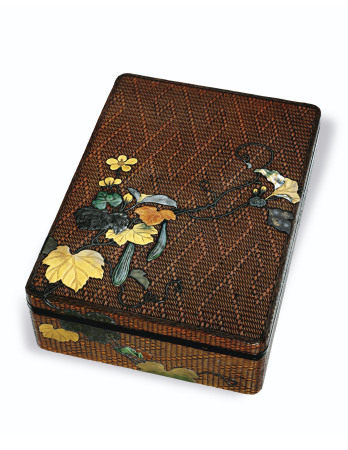A RITSUO-STYLE BASKET-WEAVE LACQUER WRITING BOX (SUZURIBAKO) AND STATIONERY BOX (BUNKO) EDO-MEIJI PERIOD (19TH CENTURY)