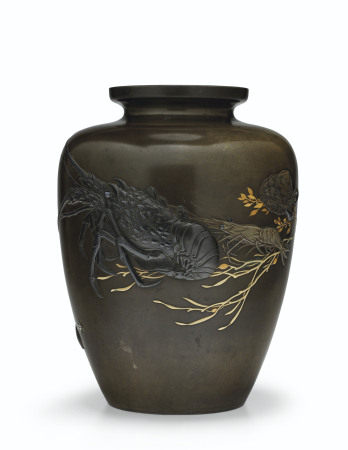 A SOFT-METAL-INLAID SHIBUICHI VASE MEIJI PERIOD (EARLY 20TH CENTURY), SIGNED CHIKAMITSU, SEALED CHIKAMITSU NO IN