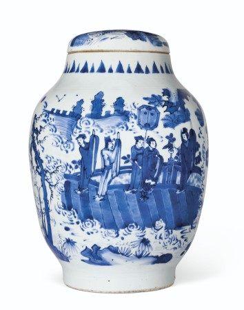 明崇祯 青花「明皇遊月宮」图盖罐 CHONGZHEN PERIOD (1628-1644)