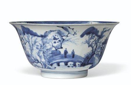 清康熙 青花山水人物图碗 KANGXI PERIOD (1662-1722)