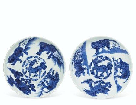 清顺治 青花麒麟瑞兽纹盘一对 四字楷书款 SHUNZHI FOUR-CHARACTER MARKS IN UNDERGLAZE BLUE AND OF THE PERIOD (1644-1661)