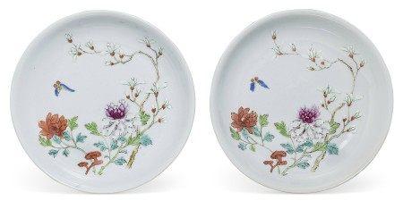 清十八/十九世纪 粉彩花卉蝴蝶纹盘一对 18TH-19TH CENTURY