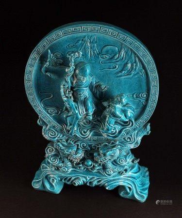 民国雕瓷名家曾龙昇款孔雀绿釉双龙戏珠仙童祝寿图台屏摆件