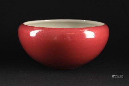 清中期胭脂红釉笔洗