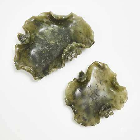 Two Spinach Jade Lotus Leaf-Form Brushwashers, 20th