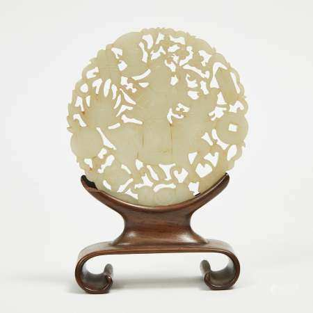A Large Reticulated Jade Plaque with Stand