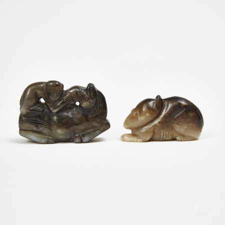 A Black and Russet Jade Carving of Monkey and Horse