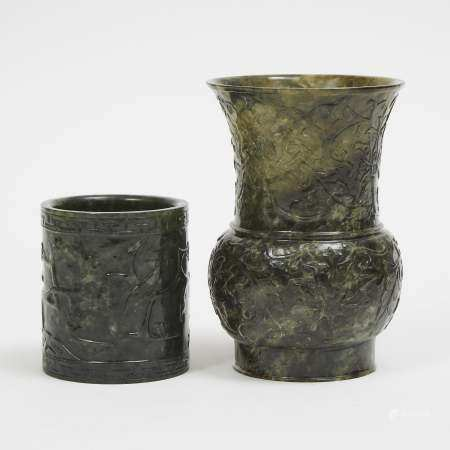 Two Spinach Jade Carvings of a Vase and a Brushpot