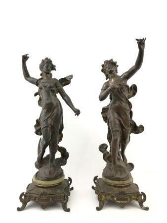 Mathurin Moreau (1822 - 1912). Pair of Metal Figures