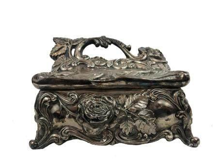 Art deco silver plate box.