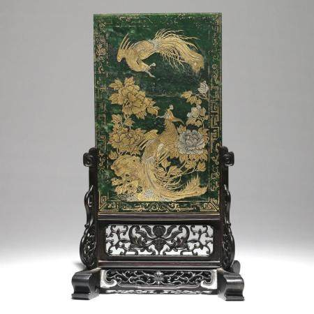 CHINESE QING GILT PAINTED JADE TABLE SCREEN