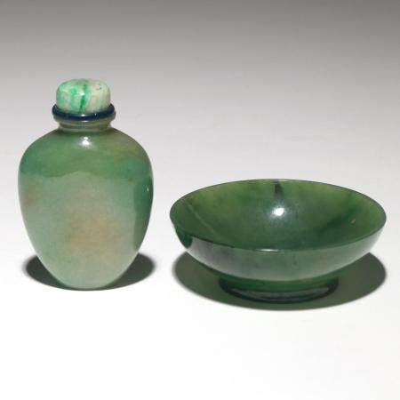 (2PC) CHINESE JADE SNUFF BOTTLE & BOWL