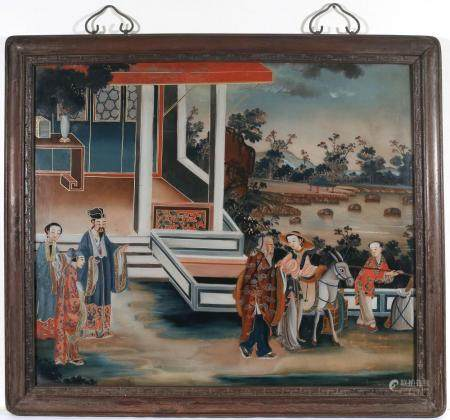 CHINESE REVERSE PAINTED GLASS PANEL