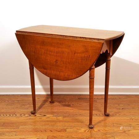 QUEEN ANNE TIGER MAPLE SMALL DROP SIDE TABLE