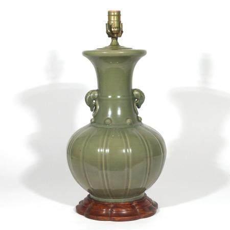CHINESE GREEN CELADON CERAMIC LAMP