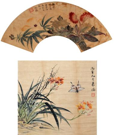 清 沈铨/朱偁 花卉扇面双挖