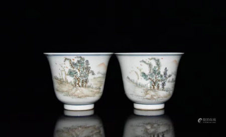 A PAIR OF CHINESE LANDSCAPE LIGHT COLORFUL PORCELAIN CUPS