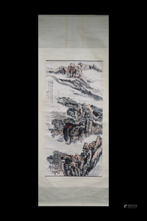 LU YANSHAO: INK AND COLOR ON PAPER PAINTING 'LANDSCAPE SCENERY'