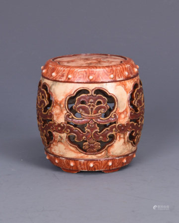 WOOD GRAIN GLAZE PORCELAIN SMALL DRUM SHAPED STAND