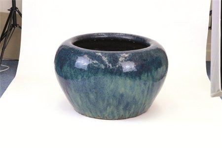 鮑氏明亮監製海鼠釉植木鉢(大)