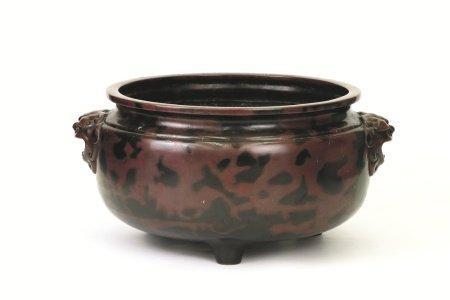 錦水造獅耳斑紫銅大火鉢