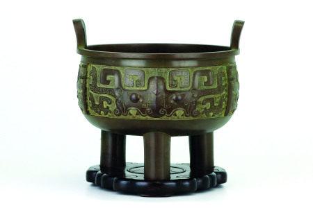金寿堂造饕餮文青銅鼎式火鉢