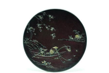 能川造鵜飼漁景図象嵌飾皿