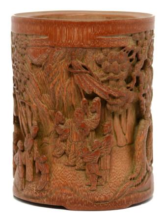 竹浮雕送別征人圖筆筒