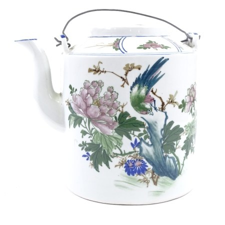 A large Chinese porcelain teapot, hand painted decoration and wire handles, height 24cm, modern
