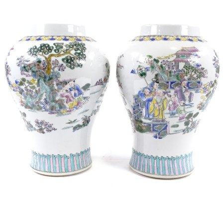 A pair of Chinese porcelain baluster vases, hand painted enamel decoration, 6 character marks,
