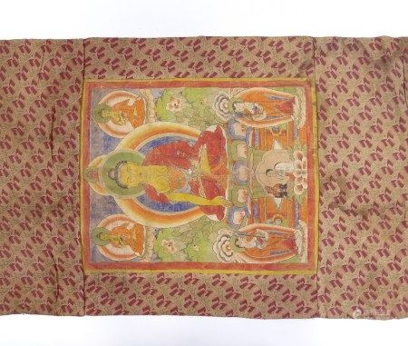 A hand painted Tibetan thangka, probably early 20th century, width 63cm