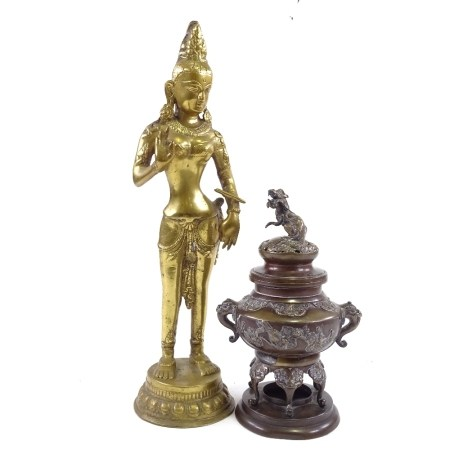 A Chinese relief cast bronze incense burner and cover, with Dog of Fo finial, height 25cm, and an