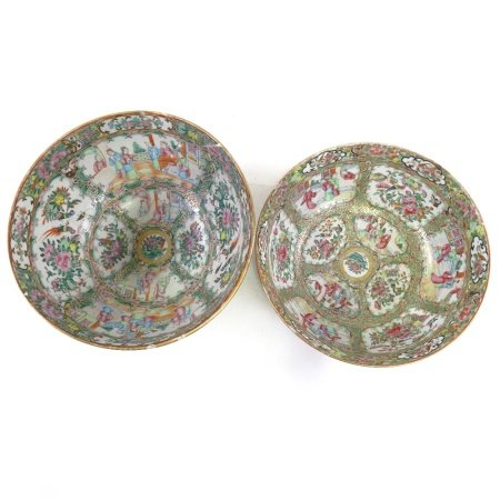 2 Chinese famille rose porcelain bowls, with painted and gilded decoration, diameter 27cm and 29cm