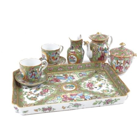 A Chinese famille rose porcelain Tea for Two set on matching tray, tray length 25cm