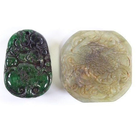 A Chinese relief carved spinach jade pendant, length 5cm, and another carved jade pendant (2)